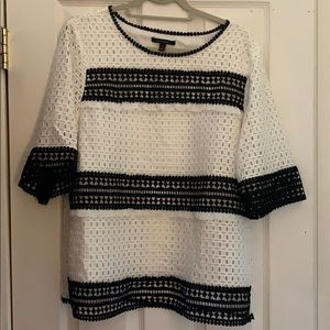 """Gorgeous black and whit eyelet 3/4"""" sleeve top XL"""